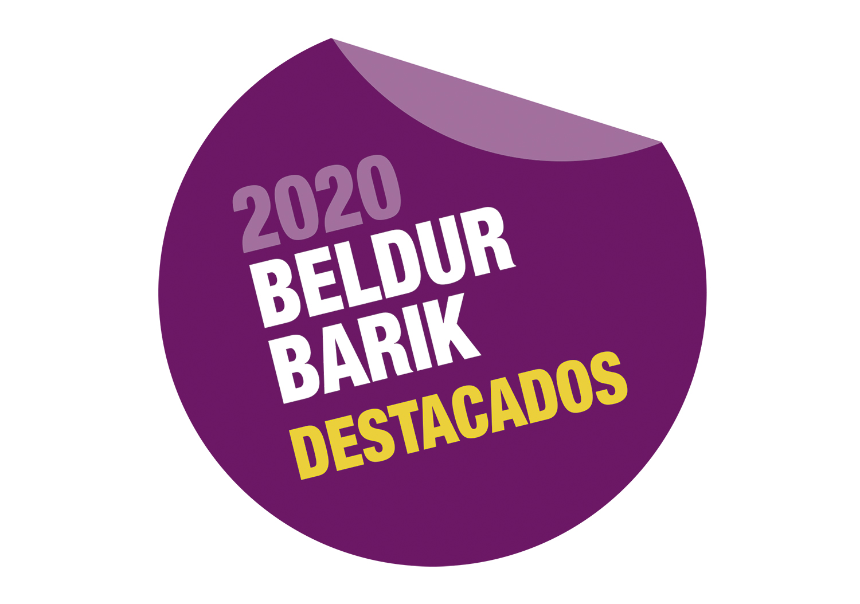 Punto Lila logo de Beldur Barik donde aparece el texto: 2020 Beldur Barik destacados.