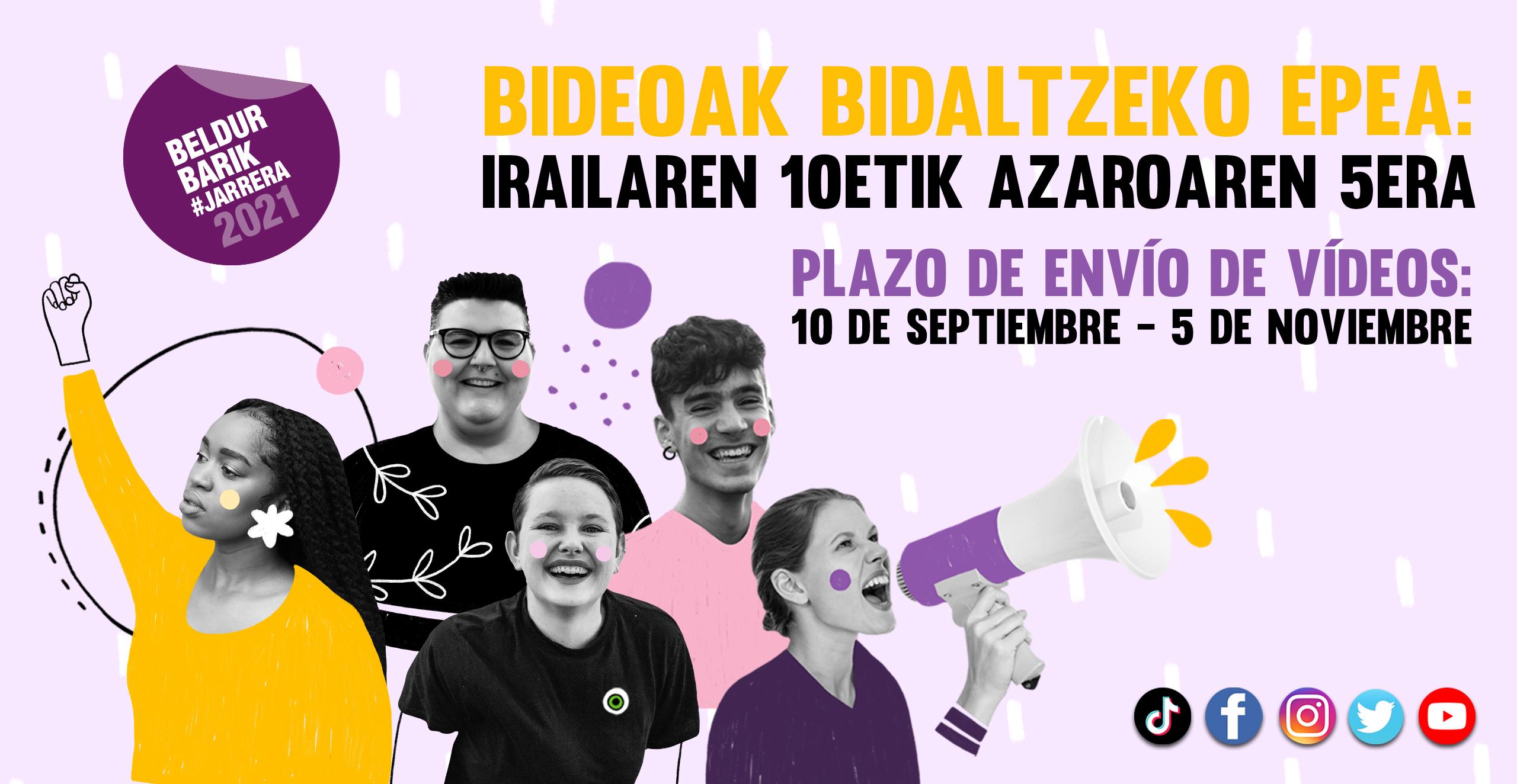 Plazo de envío de videos del 10 de septiembre al 5 de noviembre | Bideoak bidaltzeko epea irailaren 10etik azaroaren 5era